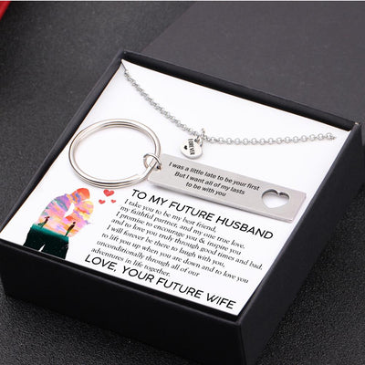 Heart Necklace & Keychain Gift Set - To My Future Husband, I Take You To Be My One To Love - Gnc24006