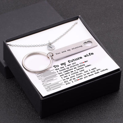 Heart Necklace & Keychain Gift Set - To My Future Wife - I Found My Missing Code - Gnc25004