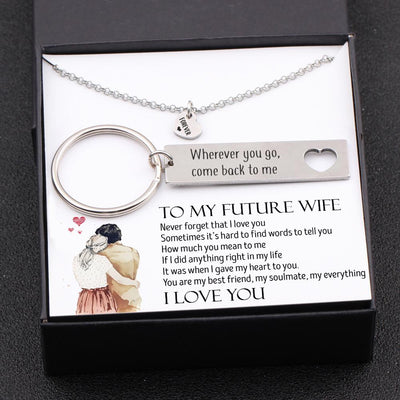 Heart Necklace & Keychain Gift Set - To My Future Wife - Never Forget That I Love You - Gnc25001