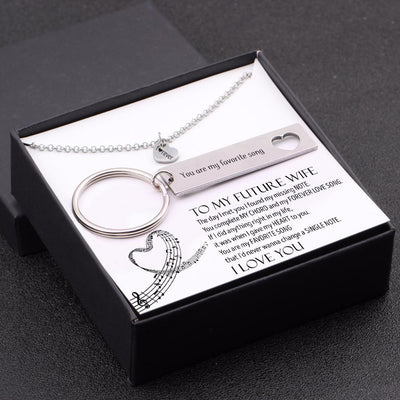 Heart Necklace & Keychain Gift Set - To My Future Wife - You Are My Favorite Song - Gnc25007