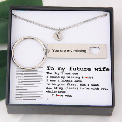 Heart Necklace & Keychain Gift Set - To My Future Wife - You Are My Missing Code - Gnc25005