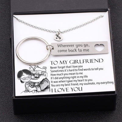 Heart Necklace & Keychain Gift Set - To My Girlfriend - Where Ever You Go, Come Back To Me - Gnc13002