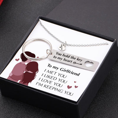 Heart Necklace & Keychain Gift Set - To My Girlfriend - You Hold The Key To My Heart - Gnc13012