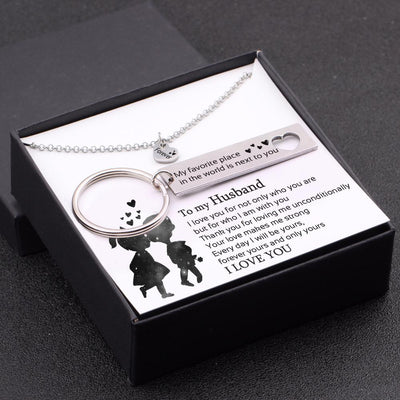 Heart Necklace & Keychain Gift Set - To My Husband - Forever Yours And Only Yours - Gnc14015