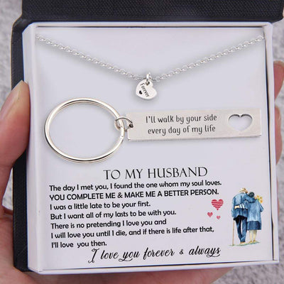 Heart Necklace & Keychain Gift Set - To My Husband, I'll Walk By Your Side Every Day Of My Life - Gnc14003