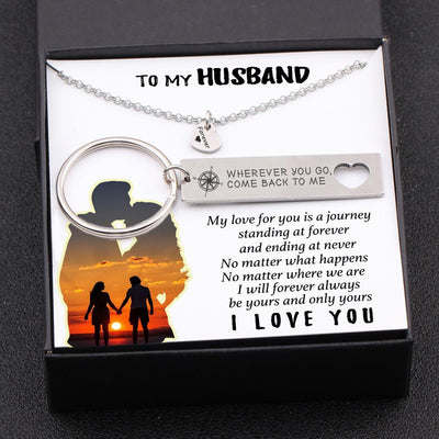 Heart Necklace & Keychain Gift Set - To My Husband - No Matter Where We Are - Gnc14021