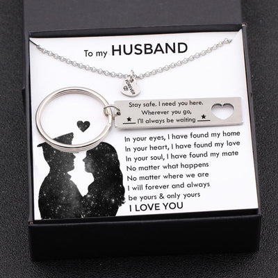 Heart Necklace & Keychain Gift Set - To My Husband - Wherever You Go, I'll Always Be Waiting - Gnc14018