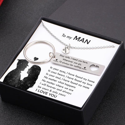 Heart Necklace & Keychain Gift Set - To My Man - Wherever You Go, I'll Always Be Waiting - Gnc26039