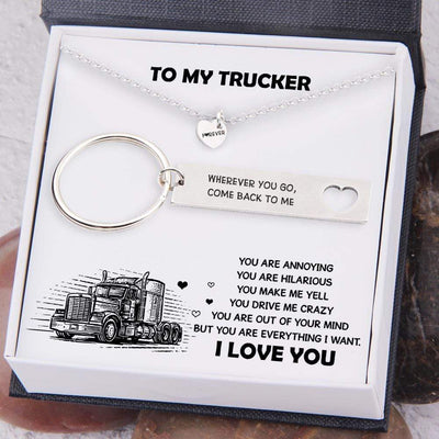 Heart Necklace & Keychain Gift Set - To My Trucker - You Are Everything I Want - Gnc26037