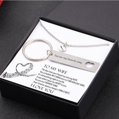 Heart Necklace & Keychain Gift Set - To My Wife - You Are My Favorite Song - Gnc15011