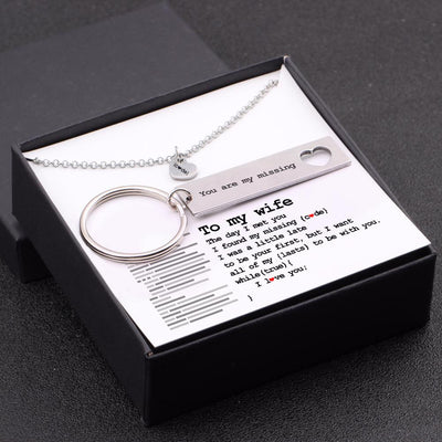 Heart Necklace & Keychain Gift Set - To My Wife - You Are My Missing Code - Gnc15009