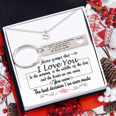 Heart Necklace & Keychain Gift Set - To My Wife - You Were The Best Decision I've Ever Made - Gnc15014