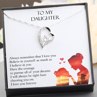 Heart Necklace - To My Daughter - I Will Always Be Right Here Cheering You On - Gnr17012