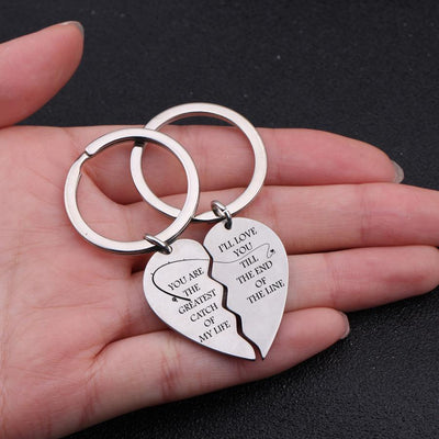 Heart Puzzle Keychain - You Are The Greatest Catch Of My Life - I'll Love You Till The End Of The Line - Gkf14005