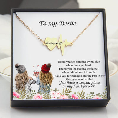 Heartbeat Necklace - To My Bestie - You Have Special Place In My Heart Forever - Gnm33001