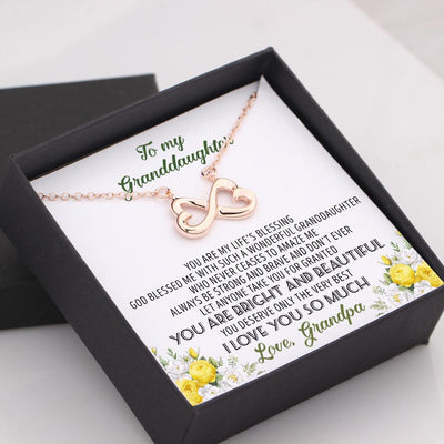 Infinity Heart Necklace - To My Granddaughter, Always Be Strong And Brave - Love, Grandpa - Gna23011
