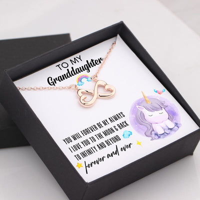 Infinity Heart Necklace - To My Precious Granddaughter, I Love You To The Moon And Back - Gna23012