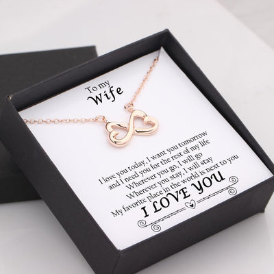 Infinity Heart Necklace - To My Wife - My Favorite Place In All The World Is Next To You - Gna15033
