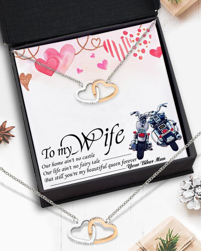 Interlocked Heart Necklace - Biker Gift - To My Wife - You're my beautiful queen forever - Gnp15028