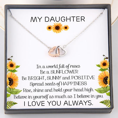 Interlocked Heart Necklace - To My Daughter - Be A Sunflower - Gnp17004