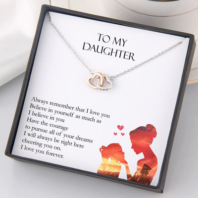 Interlocked Heart Necklace - To My Daughter - I Will Always Be Right Here Cheering You On - Gnp17020