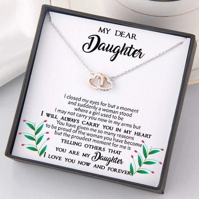 Interlocked Heart Necklace - To My Daughter - I Will Always Carry You In My Heart - Gnp17006