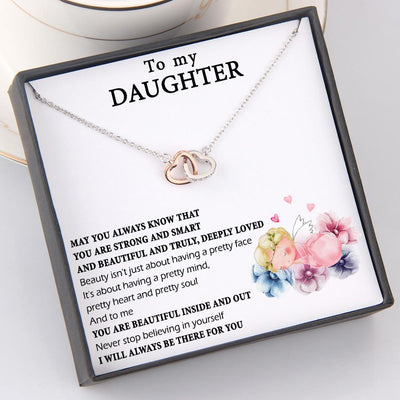 Interlocked Heart Necklace - To My Daughter - Never Stop Believing In Yourself - Gnp17003
