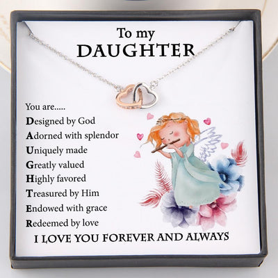 Interlocked Heart Necklace - To My Daughter - You Are Designed By God - Gnp17001