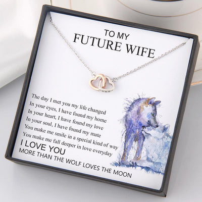 Interlocked Heart Necklace - To My Future Wife - In Your Soul, I Have Found My Mate - Gnp25035