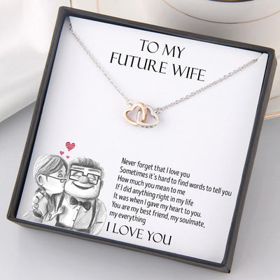 Interlocked Heart Necklace - To My Future Wife - Never Forget That I Love You - Gnp25014