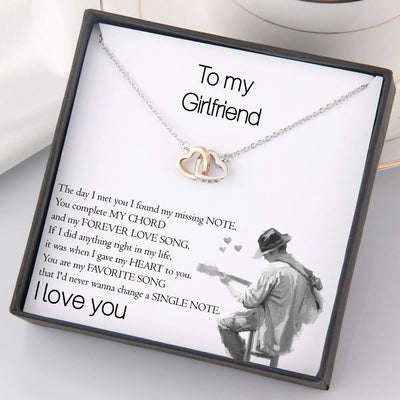 Interlocked Heart Necklace - To My Girlfriend - You Are My Favorite Song - Gnp13027