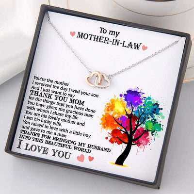 Interlocked Heart Necklace - To My Mother-In-Law - Thanks For Bringing My Husband Into This World - Gnp19004