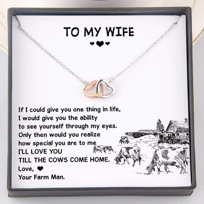 Interlocked Heart Necklace - To My Wife - I'll Love You Till The Cows Come Home - Gnp15044