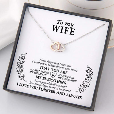 Interlocked Heart Necklace - To My Wife - Never Forget That I Love You - Gnp15012