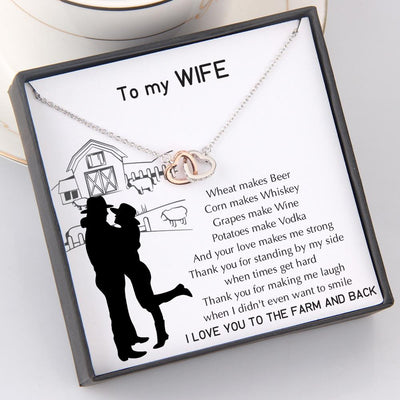 Interlocked Heart Necklace - To My Wife - Wheat Makes Beer - Gnp15039