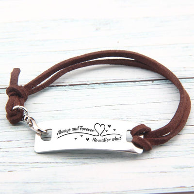 Leather Bracelet - Always And Forever No Matter What - Gbb13001