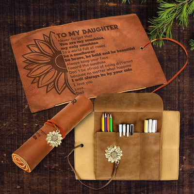 Leather Pencil Case With Compass Pendant - To My Daughter - From Dad - You Are My Sunshine - Gzda17005