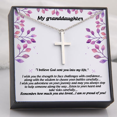 Luxury Cross Necklace - My Granddaughter - I Believe God Send You Into My Life - Gno23001