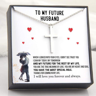 Luxury Cross Necklace - To My Future Husband - Thanks For Coming In My Life - Gno24005