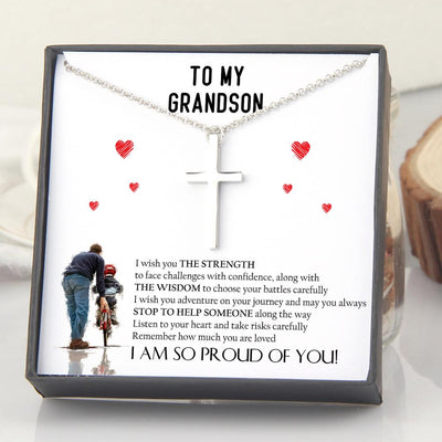 Luxury Cross Necklace - To My Grandson - Listen To Your Heart And Take Risks Carefully - Gno22008