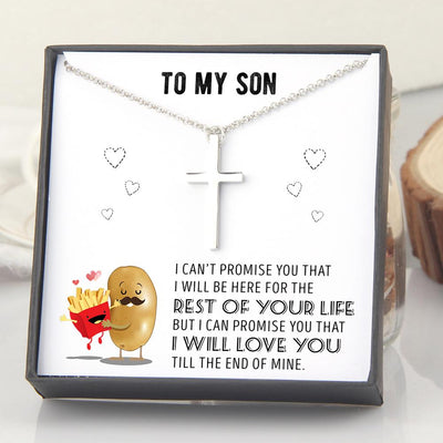Luxury Cross Necklace - To My Son - I Will Love You Till The End Of Mine - Gno16007