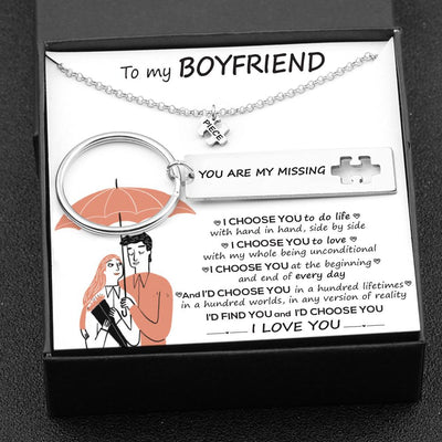 Puzzle Keychain And Necklace Set - To My Boyfriend - I Choose You To Do Life - Gnq12004