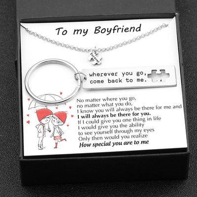 Puzzle Keychain And Necklace Set - To My Boyfriend - No Matter Where You Go - Gnq12001