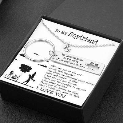 Puzzle Keychain And Necklace Set - To My Boyfriend - Thank You For Standing By My Side - Gnq12005