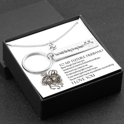 Puzzle Keychain And Necklace Set - To My Future Husband - You Hold The Key To My Heart - Gnq24003