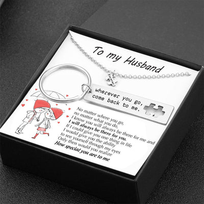 Puzzle Keychain And Necklace Set - To My Husband - No Matter Where You Go - Gnq14001