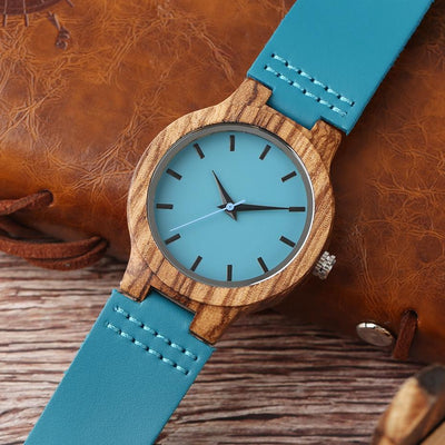 Q1404 - Daughter - I'll Be There - Daddy Loves You  - Sky Blue Leather Wooden Watch