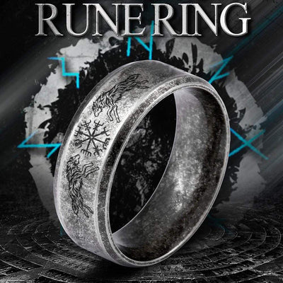 Skoll & Hati Rune Ring - My Viking - I Do Believe In Fate And Destiny - Grk26005