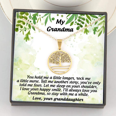 Tree Of Life Necklace - My Grandma - So Stay With Me A While - Love, Your Granddaughter - Gnn21001