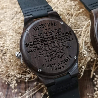 W1304 - To Dad - You Are My First Hero - Wooden Watch